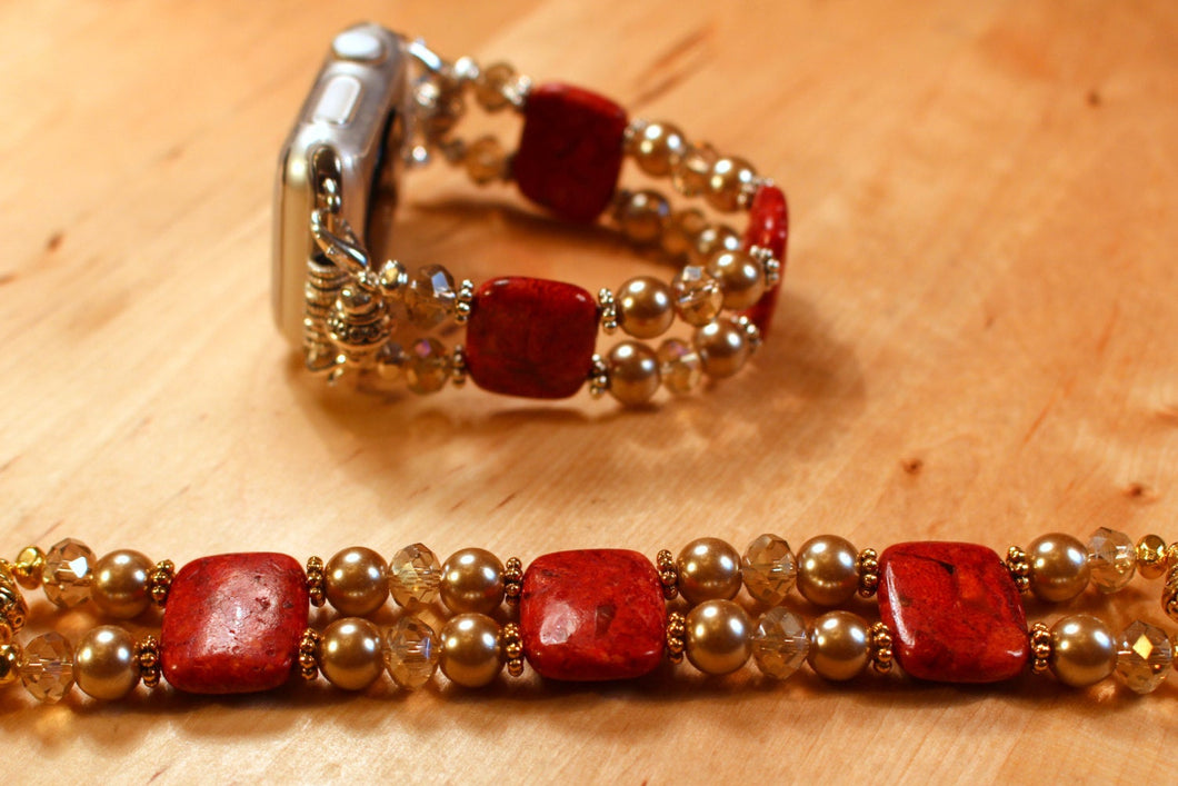 Watch Band for Apple Watch, Red Sponge Coral with Gold Pearls and Crystals