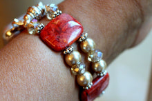 Load image into Gallery viewer, Watch Band for Apple Watch, Red Sponge Coral with Gold Pearls and Crystals