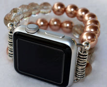 Load image into Gallery viewer, Watch Band for Apple Watch, Rose Pearls and Rutilated Quartz