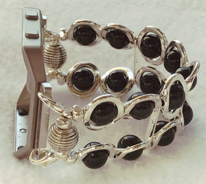 FITBIT Blaze Watch Band, Silver Ovals and Black Beads