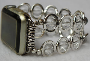 Watch Band for Apple Watch, Silver Ovals and Clear Beads
