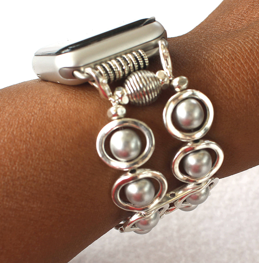 Watch Band for Apple Watch, Silver Ovals and Silver Glass Beads