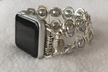 Load image into Gallery viewer, Watch Band for Apple Watch, Silver Ovals and Silver Glass Beads