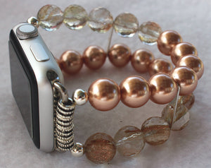Watch Band for Apple Watch, Rose Pearls and Rutilated Quartz