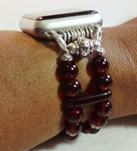 Watch Band for Apple Watch, Garnet Red Beads