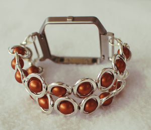 FITBIT Blaze Watch Band, Silver Ovals and Copper Beads