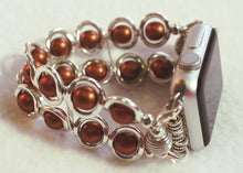 Load image into Gallery viewer, Watch Band for Apple Watch, Silver Ovals and Copper Glass Beads
