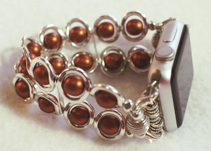 Watch Band for Apple Watch, Silver Ovals and Copper Glass Beads