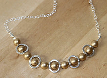 Load image into Gallery viewer, Necklace Silver and Gold Bib Necklace, Choker Bib Necklace