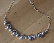 Load image into Gallery viewer, Necklace Silver and Silver Beads Bib Necklace, Choker Bib Necklace