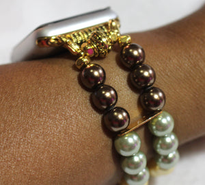 Watch Band for Apple Watch, Fall Color Pearl Bracelet, Brown Green Gold Yellow Pearls