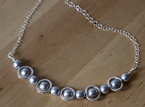 Necklace Silver and Silver Beads Bib Necklace, Choker Bib Necklace
