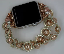 Load image into Gallery viewer, Watch Band for Apple Watch, Silver Ovals and Rose Gold Hematite Beads