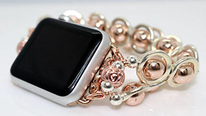 Watch Band for Apple Watch, Silver Ovals and Rose Gold Hematite Beads