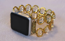 Load image into Gallery viewer, Watch Band for Apple Watch, Gold Ovals and Clear Beads