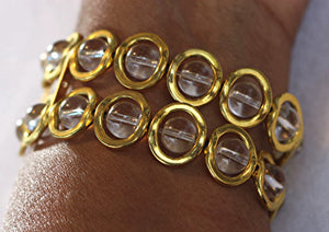 Watch Band for Apple Watch, Gold Ovals and Clear Beads