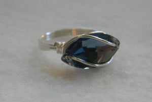 Swarovski Denim Blue Crystal Navette Ring