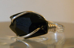 Sterling Silver Swarovski Black Crystal Ring