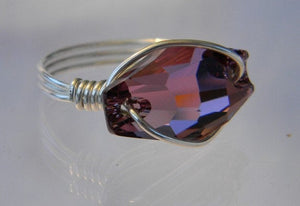 Sterling Silver Swarovski Antique Pink Crystal Hexagon Ring