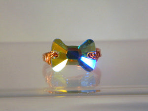 Swarovski Crystal Bow Tie Copper Ring, Copper Ring, Crystal Ring