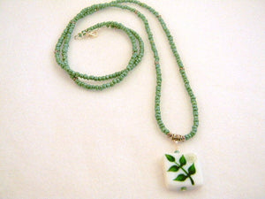Bohemian Necklace, Green Long Pendant Necklace