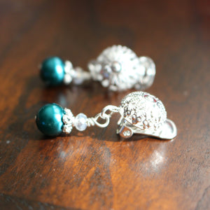 Clip On Earrings Teal Pearl Silver Clip On