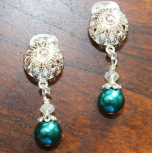 Load image into Gallery viewer, Clip On Earrings Teal Pearl Silver Clip On