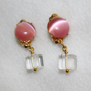 Clip On Earrings Pink Gold Clip On Earrings