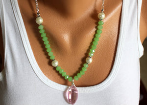 Green Jade Crystal and Pearl Necklace