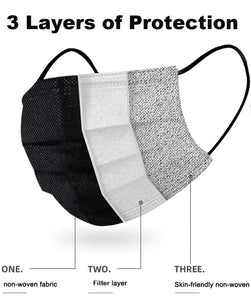 3-Layer Disposable Non-Woven Mask in Black (5 Masks)