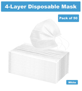 4-Layer Disposable Non-Woven Mask with Melt-Blown Filter and Static Felt Filter in White (50 Masks)