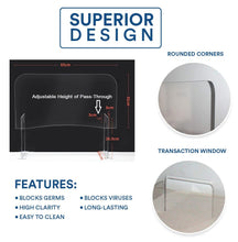 "Load image into Gallery viewer, Protective Sneeze Guard (25.6""W x 13.8""H) with Adjustable Height of Pass-Through"