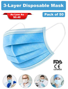 3-Layer Disposable Non-Woven Mask with Melt-Blown Filter (50 Masks) - FDA, CE Certified