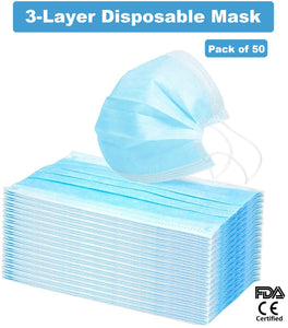 3-Layer Disposable Non-Woven Mask with Melt-Blown Filter (100 Masks) - FDA, CE Certified