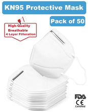 Load image into Gallery viewer, 4-Layer KN95 Mask with Metal Nose Clip (50 Masks) - FDA, CE Certified - $2.50 per mask