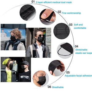 3-Layer Disposable Non-Woven Mask in Black (100 Masks)