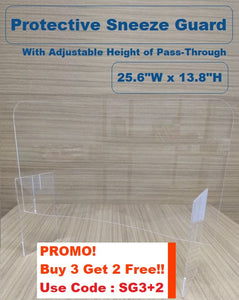 "Protective Sneeze Guard (25.6""W x 13.8""H) with Adjustable Height of Pass-Through"
