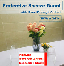 "Load image into Gallery viewer, Protective Sneeze Guard (30""W x 24""H) with Pass-Through Cutout"