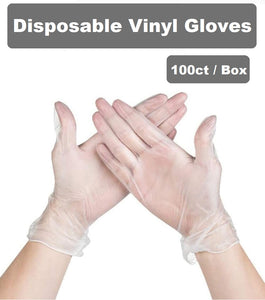Clear Disposable Vinyl Gloves Latex Free, PVC (Box of 100)
