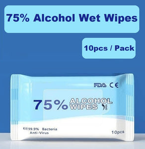 75% Alcohol Wet Wipes (10pcs/Pack) - All Purpose, FDA, CE Certified