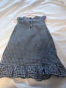 OSHKOSH Blue & White Gingham Dress with green thread accents, Size 3T