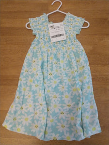 CARTER'S light blue smocked top dress with daisies. SIZE 2T