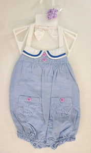 GYMBOREE 2 pc bundle, romper & hair clip; Infant girls size 18-24 months