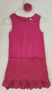 GYMBOREE 2 pcs set - sleeveless knit dress & Flower hair clip; Girls size 5