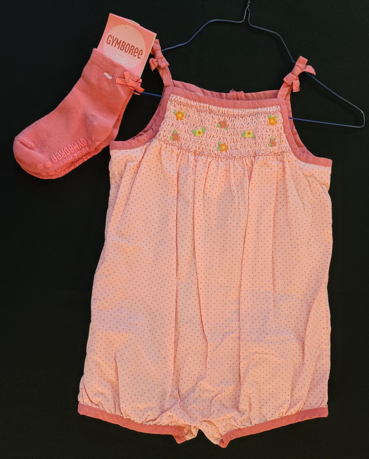 GYMBOREE 2 pc set - summer romper & *NWT* socks; Infant girls Size 18-24 months