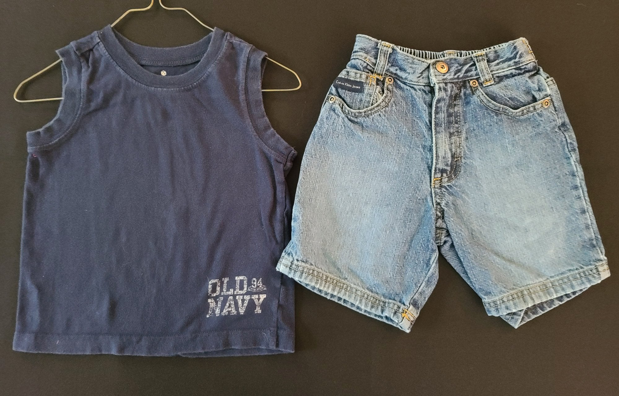 "2 pc bundle - OLD NAVY ""muscle"" shirt & CALVIN KLEIN shorts; boys 2T"