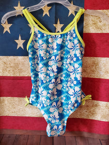 Size 8 Neon green,blue & white flower swimsuit