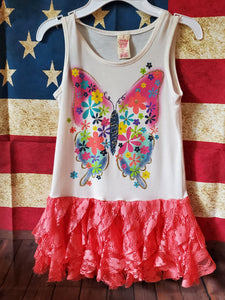 NEW WITHOUT TAGS FADED GLORY size 7/8 butterfly tank top W lace bottom