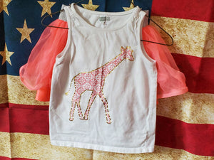 2 PC size 3T Crazy 8 white tank with giraffe pink healthtex skirt
