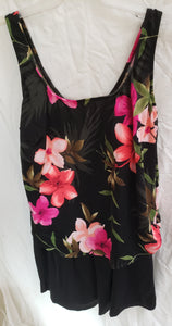 LE COVE Size 18 juniors black onepiece bathingsuit with pink flowers